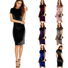 Vintage Women Bodycon Short Sleeve Evening Party Cocktail Velvet Pencil Dress