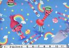 TROLLS cupcakes & rainbows on blue : 100% LICENSED cotton  : by the 1/2 metre