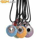 "40mm Coin Mutil-color Lava Rock Volcanic Pendant Necklace Letaer Rope 18"" Gift"