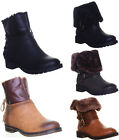 Womens Good Grip Sole Warm Fur Fun Fold Over Ankle Boots