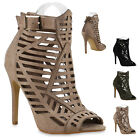 Damen Sandaletten Sandal Boots High Heels Cut-outs Stilettos 815813 New Look