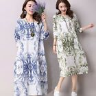 New Fashion Retro Womens Floral Loose Long Dress Cotton Line National Style Maxi