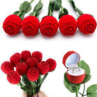 1pc Red Rose Flower Velvet Jewelry Storage Box Engagement Ring Display Case