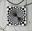 FRACTAL BLACK AND WHITE PENDANT NECKLACE 3 SIZES CHOICE -hjt6Z
