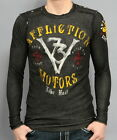 AUTHENTIC AFFLICTION MENS MOTORS TRACK TESTED BLACK LONG SLEEVE THERMAL SHIRT