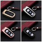 For BMW Remote Car Key Fob Cover Aircraft Aluminum Case Genuine Leather Keychain