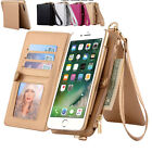Fashion 2 in 1 Leather Card Cover Wallet Bag w/Zipper for iPhone 6S/7/7/Plus