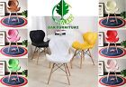 Eiffel Style Dining Chairs Wood Legs & Comfortable Padded Seat