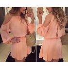 Womens Long Sleeve Chiffon Evening Cocktail Party Summer Casual Short Mini Dress