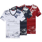 Stylish Men's Summer Short Sleeve V-Neck Printed Tee Shirt Casual Tops T-Shirts