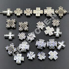 Tibetan Silver Carved Patterned Cross Connector Space Charm Beads Craft 8mm 10mm