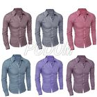 Mens Slim Fit Casual Shirt Slim Fit Plaid Check Polo Long Sleeve Dress Shirt Top