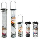DELUXE HANGING METAL WILD BIRD FEEDER FEEDING - SEED OR NUT - SMALL OR LARGE