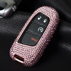 For Dodge / Fiat Remote Key Cover Crystal Aluminum Case Genuine Leather Keychain