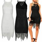 Womens Ladies High Neck Floral Lace Trim Camisole Strappy Bodycon Mini Dress