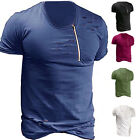Mens Casual Summer Slim Fit Holes Crew Neck Zipper Short Sleeve T Shirt Tee Tops