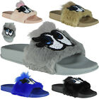 Womens Ladies Comfy Plain Rubber Eyes Sliders Flats Shoes Slides Slippers Size