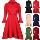 Womens Ladies Choker Neck Peplum Frill long Sleeve Flare Swing Skater Mini Dress
