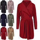 Womens Ladies Waterfall Belted Cardigan Collared Cape Italian Blazer Duster Coat