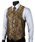 VE14 Gold Brown Paisley Men Silk Waistcoat Vest Pocket Square Cravat Suit Set
