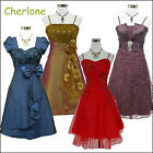 Cherlone Satin Prom Ball Party Cocktail Evening Lace Formal Bridesmaid Dress