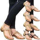 Ladies Womens Low Mid Block Heel Gems Diamante T-Bar Toe Post Sandals Shoes Size