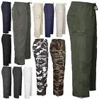 Mens Elasticated Waist Rugby Trousers Cargo Combat Bottoms Twill 3 In 1 M-XXXL