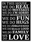 Family Wall Picture In This House Quote Poster Black Glossy Poster A1/A2/A3/A4