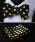 BD3001L Black Yellow Check Woven Men Silk Classic Self Bow Tie Pocket Square set