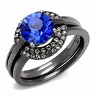 Womens 8x8mm Round Sapphire CZ Light Black IP Stainless Steel Wedding 3 Ring Set