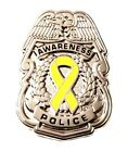 Yellow Awareness Ribbon Pin Police Badge Security Sheriff Cancer Silver New
