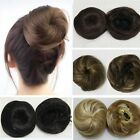 Lady Straight Black/Brown Hairpiece Updo Hair Extension Drawstring Chignon Style