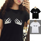 Stylish Ladies Short Sleeve Tops Hand Print Letter Casual Summer T-shirt Blouse