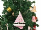 Wooden Pretty in Pink Model Sailboat Christmas Tree Ornament - Nautical Christma