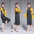 Fashion Spring Women Clothing Long Flare Sleeves Yellow Floral Lace Casual Dress
