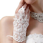 Ladies Manners Fingerless Rhinestone Lace Gloves Bridal Prom Ring Hook Mittens