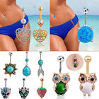 Retro Turquoise Navel Ring Charm Gem Crystal Belly Button Body Piercing Jewelry