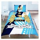 MANCHESTER CITY SINGLE BED DUVET QUILT COVER STRIPE CREST SET MAN MCFC FOOTBALL