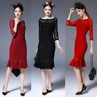 Fashion Woman 3/4 Sleeve Hollow Lace Dress for Evening Party Cocktail Bridesmaid