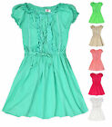 Girls Short Sleeved Gypsy Dress Frill Neck Kids Dresses New Age 3 4 5 6 7 8 Year