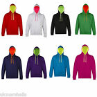 AWDIS SUPERBRIGHT UNISEX CONTRAST HOODIE HOODED TOP S-XXL JH013