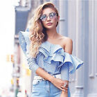 New Fashion Womens Long Sleeve T-shirt Ruffle Striped Splice Casual Blouse Tops