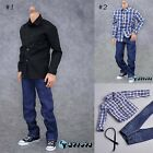 "1/6 Young Men Long Sleeves Shirt Blue Jeans Set Fit 12"" Hot Toys Action Figure"