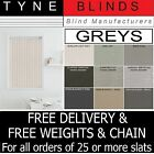 "From 99p Grey Charcoal 3.5"" Vertical blind SLATS - plain or washable or blackout"