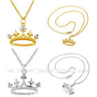 "21"" Crown Rhinestone Gold Sliver Pendant Chain Necklace Jewerly Mother Day Gift"