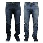 NEW MENS DENIM JEANS STRAIGHT LEG REGULAR FIT PLAIN BLUE BLACK DARK ALL SIZES