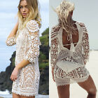 Women Bathingsuit Cutout Lace Crochet Bikini Swimwear Cover Up Beach Dress Skirt