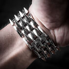 Mens Heavy SPIKE Bracelet. Unique, Unusual Wide Design - 925 Sterling Silver.