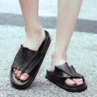 Men's Cowhide Leather Stylish Summer Beach Shoes Outdoor Slipper Slip on Sandals