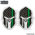 Thin Green Line American Subdued Flag Spartan Helmet Stickers Decals SET TCS